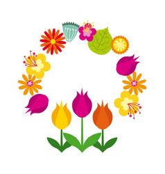 Wreath of flowes icon vector