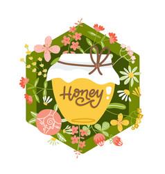 yellow honey jar on background wild flowers vector image