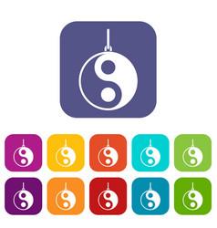 Yin yang symbol icons set flat vector