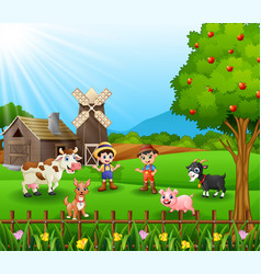 Young farmers activities with animals vector