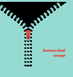 zipper symbol and connected hands businessman vector image