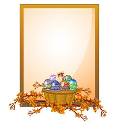 An empty frame signage with a basket of eggs vector image