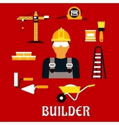 Builder and construction flat icons vector image