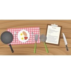 food recipe with breakfast menu vector image
