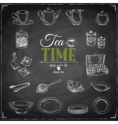 hand drawn of tea set vector image