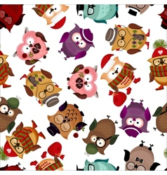seamless pattern with funny owls vector image vector image