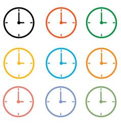 set clock icon on white background clock symbol vector image vector image