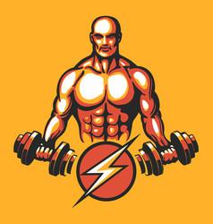 training bodybuilder emblem vector image vector image