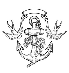 Anchor with swallows and roses tattoo design vector