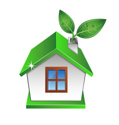 eco house with a green leaf vector image vector image