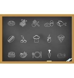 Food icon on blackboard vector