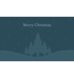 Landscape merry christmas at night vector