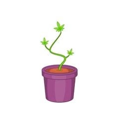 Marijuana in flower pot icon cartoon style vector image