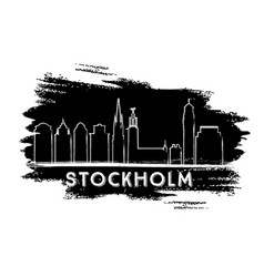 stockholm skyline silhouette hand drawn sketch vector image vector image