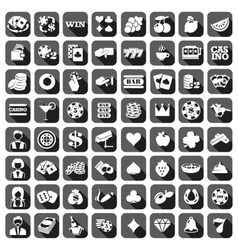 Big set of flat casino icons vector image