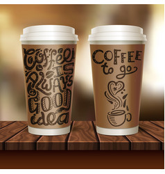 coffee to go two cup composition vector image