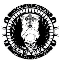 Motor skull shield design vector