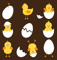 set of cartoon chickens vector image vector image