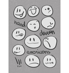 Set of hand drawn emoticons eps8 vector image