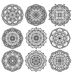 Yoga medallions meditation mandalas arabesque vector image