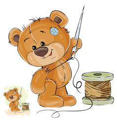 a brown teddy bear tailor vector image