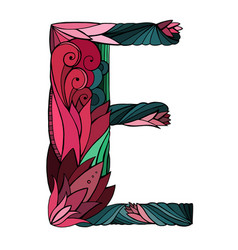 coloring freehand drawing capital letter e vector image