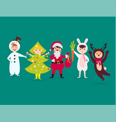 cute kids wearing christmas costumes vector image