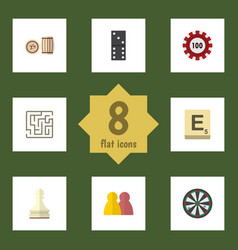 flat icon entertainment set of poker lottery vector image vector image