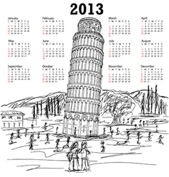 leaning tower of pisa 2013 calendar vector image vector image