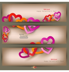 set of three banners with paper hearts valentines vector image vector image
