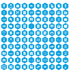 100 document icons set blue vector