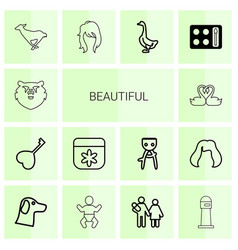 14 beautiful icons vector