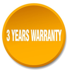 3 years warranty orange round flat isolated push vector