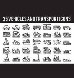 35 vehicle and transport outline icons vector image