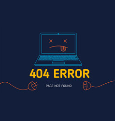 404 error page not found line notebook vector image