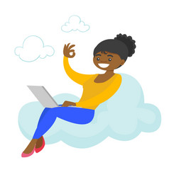 a woman on a cloud working on a laptop and showing vector image