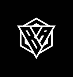 Ba logo monogram with triangle and hexagon shape vector