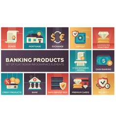 Banking products - set flat design infographics vector