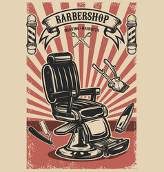 Barber shop poster template barber chair and vector