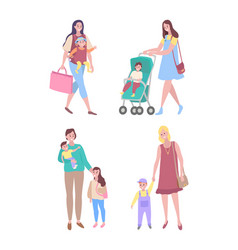 Bawith mother woman walking with son daughter vector