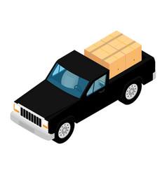 black pickup truck deliver cardboard boxes vector image