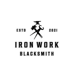 Blacksmith logo vintage minimalist design vector