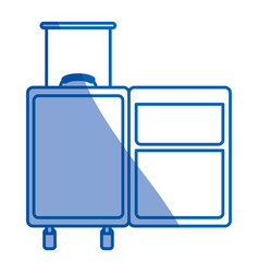 blue shading silhouette of empty traveler suitcase vector image
