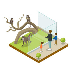 Cage with monkeys isometric 3d icon vector