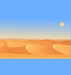 Cartoon nature empty sand desert landscape vector