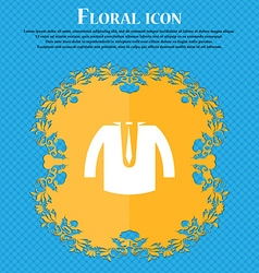 casual jacket icon sign Floral flat design on a vector image