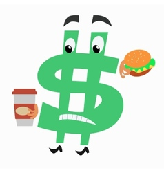 Character dollar sign with hamburger and Cup of vector
