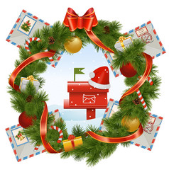 Christmas Wreath with Mailbox vector image