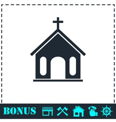 Church icon flat vector