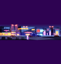 City street with shops and parking at night vector
